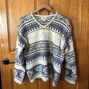 Vintage St John's Bay Thick V Neck Sweater Size L